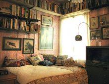 Een vintage slaapkamer interieur