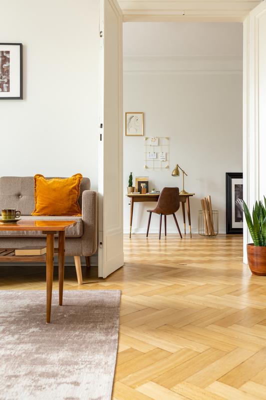 houten vloer van visgraat