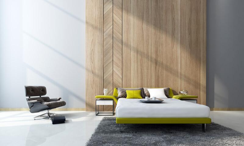 slaapkamer met houten details