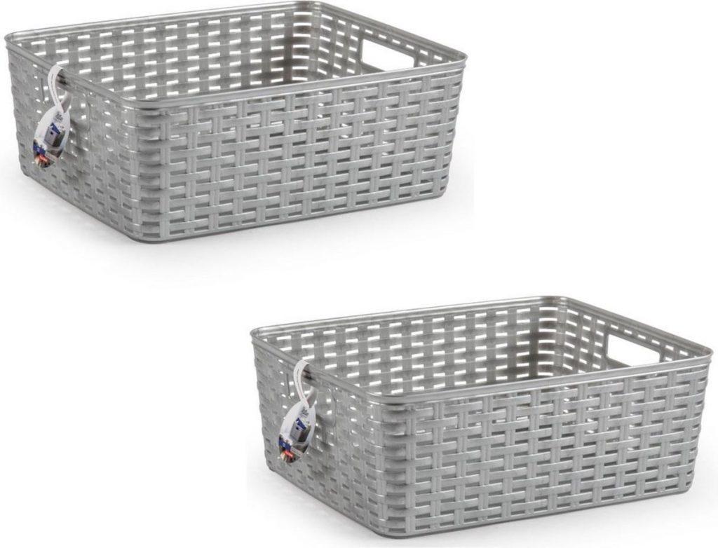 2 Zilveren geweven opbergboxen