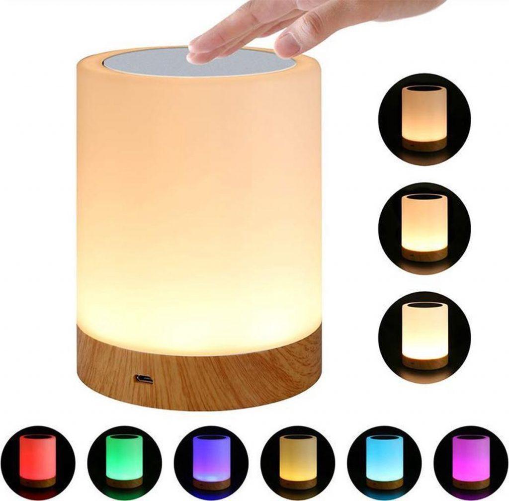 6 kleuren dimbaar touch nachtlampje