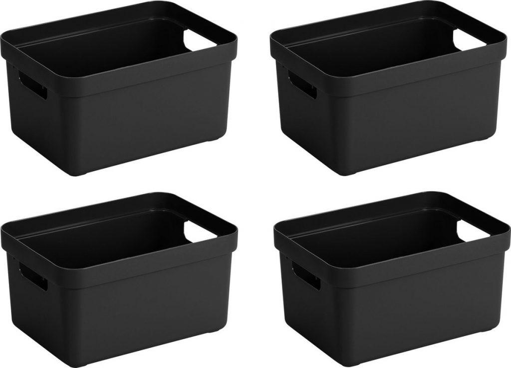 zwarte opbergboxen